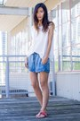 Sky-blue-forever-21-shorts-white-forever-21-top