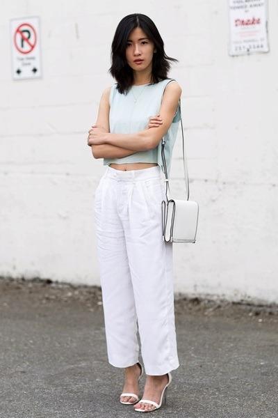 light blue mary young top - white Alexander Wang bag - white Zara pants