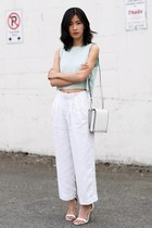 light blue mary young top - white Alexander Wang bag - white Zara pants