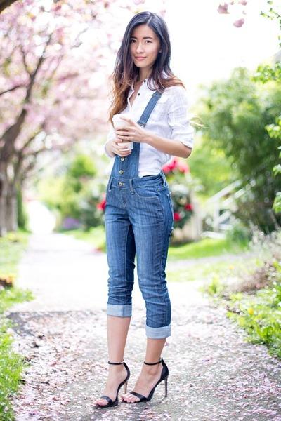 f36629ab6d7 white free people shirt - blue Forever 21 jumper - black Zara heels