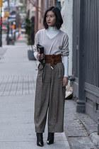 black sam edelman boots - ivory Zara sweater - dark brown asos belt
