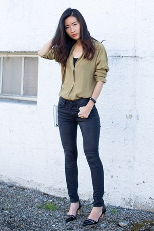 black Gap jeans - lime green Zara shirt - black Zara heels