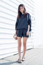black Zara top - line and dots shorts
