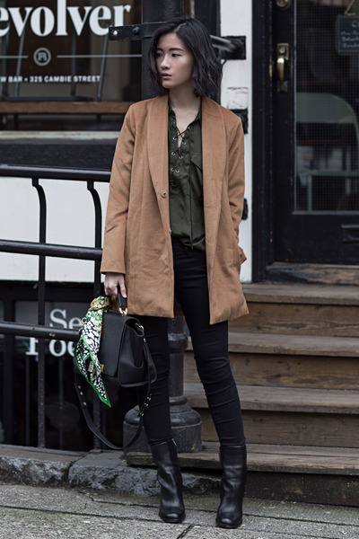 camel Lovers  Friends coat - black sam edelman boots - army green LAcademie top