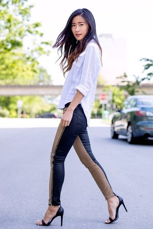 white free people shirt - black 7 for all mankind pants - black Zara heels