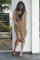 DKNY dress - anteprima top - No label vest - hilly belt - seychelles shoes