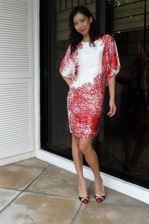 coral printedd kimono dress