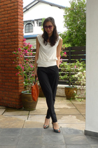 black abyzz pants - white abyzz blouse