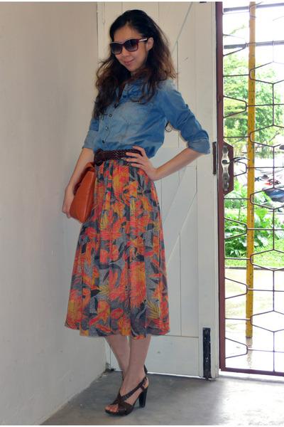 bfc07920d tawny vintage skirt - burnt orange Marni bag - brown Vince Camuto heels
