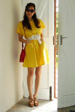yellow Japan dress - red Liz Clairbourne bag - seychelles wedges