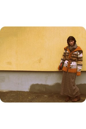 tawny skirt - cardigan - dark brown Target boots - camel scarf - david jones bag
