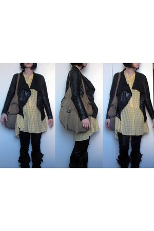 black All Saints jacket - black Miss Selfridge leggings - light yellow Isabel Ma