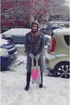 charcoal gray Anthropologie coat - dark brown doc martens boots