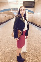 ruby red pencil JCrew skirt - black ankle boots - black motorcycle Zara jacket