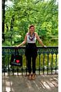 Black-zara-skirt-white-h-m-shirt-yellow-topshop-scarf