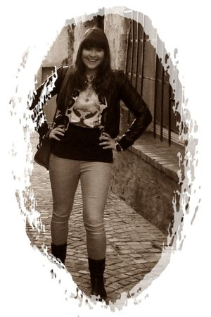 silver Vero Moda jeans - black H&M boots - black H&M jacket