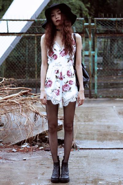 black vagabond boots - white Missguided dress - black THE DEAD BIRD accessories