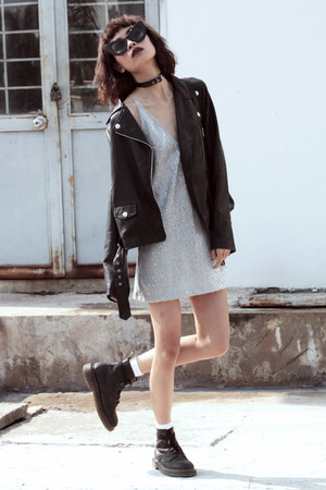 black Dr Martens boots - Motel Rocks dress - black Sheinside jacket