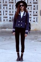 navy kpopsicle blazer - black Dr Martens boots - black Zara jeans