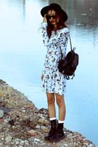 black Dr Martens boots - light blue Siren London dress