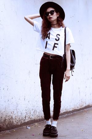 white WONDERLAND CLOTHING top - crimson Thrift Store pants - black TUK flats