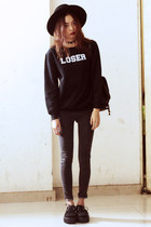 black ACID CLOTHING sweater - gray Young Hungry Free jeans - black TUK flats