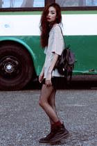 black Dr Martens boots - black Thrift Store skirt - off white Sheinside t-shirt