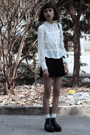 white thrifted blouse - black Young Hungry Free boots - black thrifted skirt
