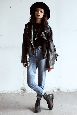 black Dr Martens boots - black StyleMoi jacket - white killstar necklace