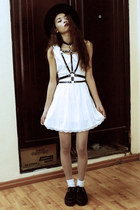 white Wholesale7 dress - white Wholesale7 tights - black Choies accessories