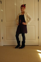 navy Urban Outfitters dress - black Ugg boots - red accessories