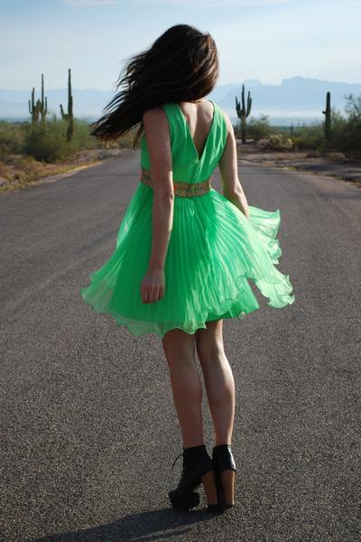 black litas Jeffrey Campbell boots - lime green Waisted Vintage dress