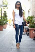 navy skinny jeans Zara jeans - white white tee Zara top