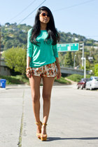 floral Fiddle Dee Dee shorts - teal Zara blouse - mustard Steve Madden sandals