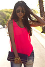 Destroyed-machine-jeans-navy-laurenmerkin-bag-hot-pink-chiffon-neon-zara-top