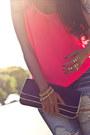 Destroyed-machine-jeans-navy-laurenmerkin-bag-hot-pink-chiffon-neon-zara-top