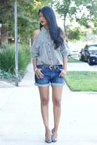 white stripes vintage blouse - blue boyfriend Urban Outfitters shorts