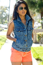 blue denim acid wash Audrey vest - carrot orange neon orange Big Star USA shorts