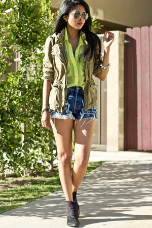 army Zara jacket - Levis shorts - neon chiffon Cotton Candy top