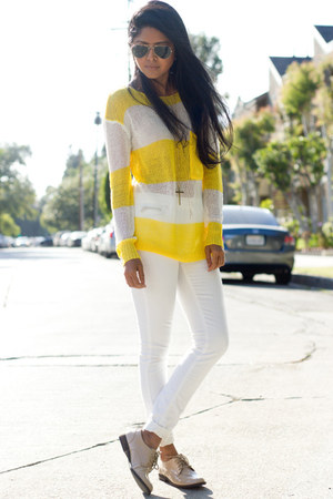 knitted Excess Baggage jumper - white Zara jeans - nude Halogen loafers