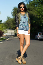 leather sleeve Zara jacket - white shorts Zara shorts