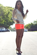 neon frayed Big Star USA shorts - knitted vintage jumper - unknown bracelet