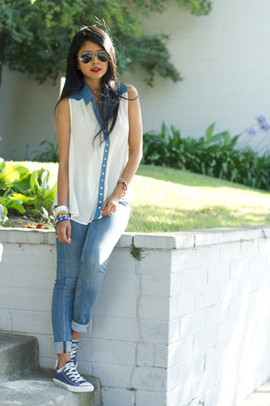 H &M jeans - chambray Double zero top - Converse sneakers