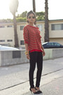 Black-black-zara-jeans-ruby-red-stripes-zara-jumper
