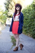 navy jacket - carrot orange to do dress Stitched & Adorned dress