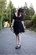 black lace backless Lavishville dress - camel Kimchi Blue bag