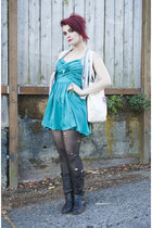 teal dress dress - brown boots boots - unicorn tote Whimsy Bags bag