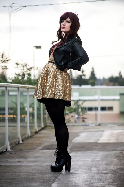 black litas Jeffrey Campbell boots - gold romwe dress