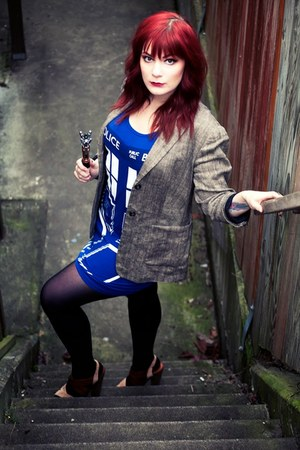 blue tardis Her Universe dress - light brown tweed thrifted blazer