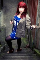 blue tardis Her Universe dress - light brown tweed thrifted blazer